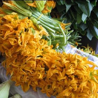 Flor de calabaza (squash blossoms) un mercado en Querétaro, Mexico