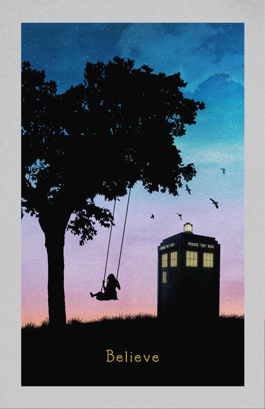 Police Box with Girl on Swing - Sunset $18.00