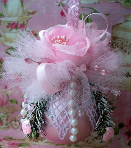 Shabby Pink Chic Christmas Ornament, Pink Roses, Venice Lace, Pearls ...