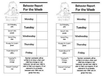 The monthly and weekly reports are in black and white so that they copy easily. Finally, I added small certificates for the blue, purple, and pink behavior days (4/page).  If you prefer this behavior management in Spanish I made one exactly like this one in Spanish. Alma Almazan www.goingbacktokinder.blogspot.com 