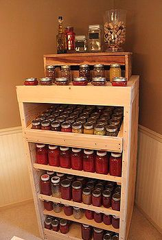 canning cupboard made from recycled pallets, carpentry  woodworking, homesteading, pallet projects, Canning Pantry holds over 200 quarts and pints of canned goods from our garden