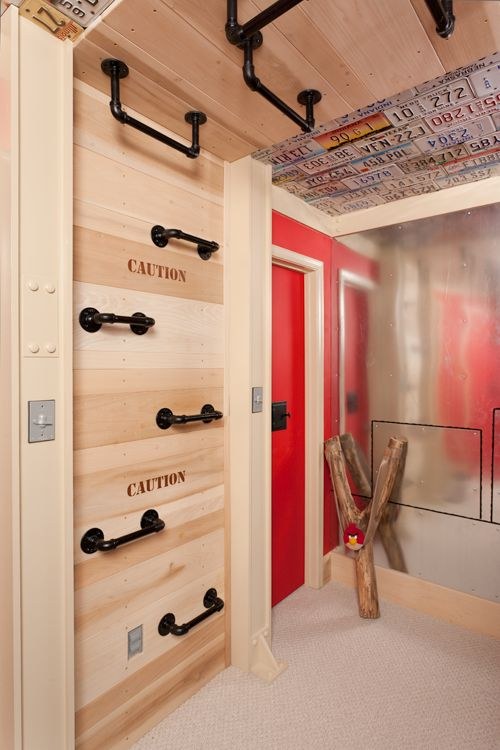 This is a bedroom, but it has multiple features that are what I'm looking for for the playroom - rock wall, pipe monkey bars & ladder, climbing rope.