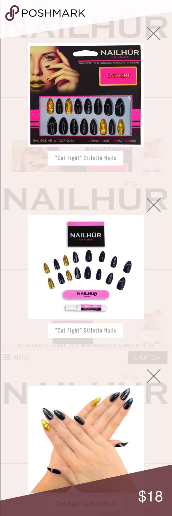 NAILHUR cat fight fight stiletto nails The Claws are out, don't mess with a woman and her stiletto manicure. Black, Gold sequins and Chains for girls who aren't afraid to get rough.  Includes 24 nails, 12 sizes, nail file, nail glue. nailhur Makeup