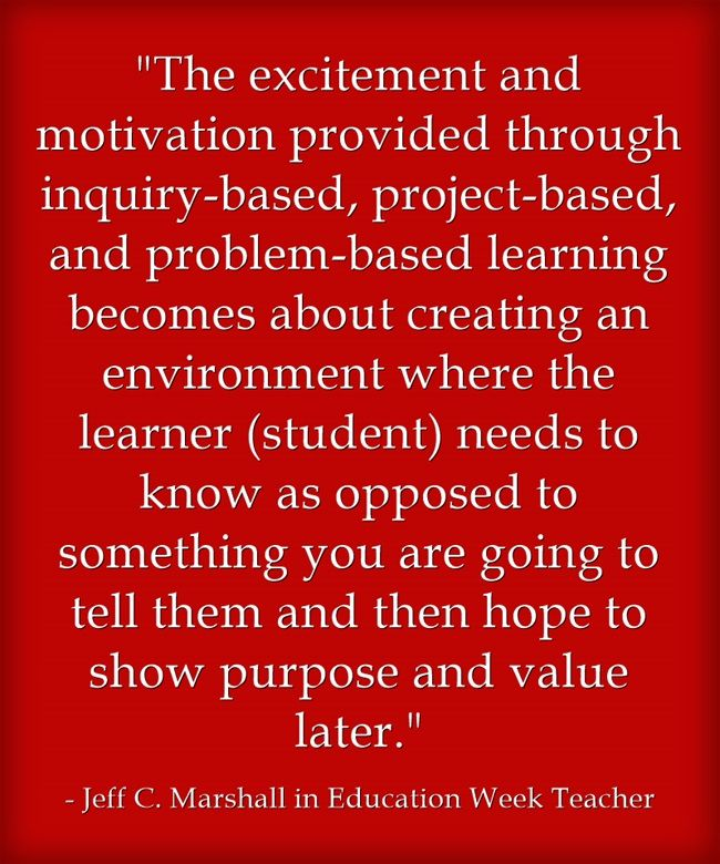 Jeff C. Marshall, Nancy Sulla, Derek Cabrera, Christopher Panna, and Heather Wolpert-Gawron and Ron Berger all share their thoughts on the differences between project-based, problem-based, and inquiry learing.