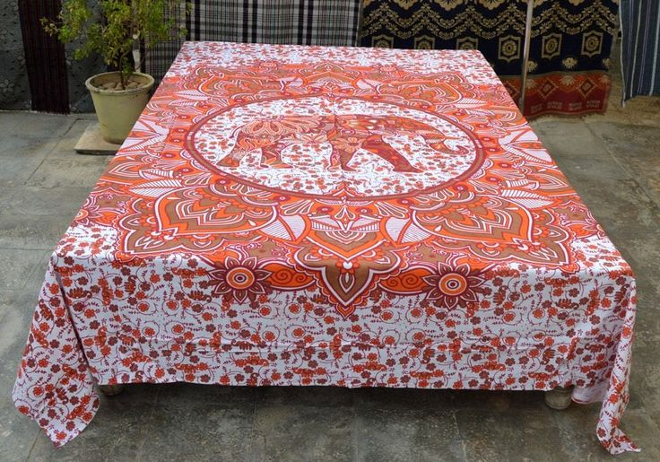 Indian Mandala Print Hippie Elephant Design Bedspreads Throw Decor Wall Hanging #Handmade #IndianSouthAsian #BedspreadBedsheetWallHangingBedCover