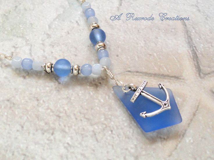 Anchor Charm Necklace Beaded Necklace Sea Glass Pendant Necklace Women's Gift for Her Nautical Beach Jewelry Summer Fashion Beach Wedding by ARexrodeCreations on Etsy
