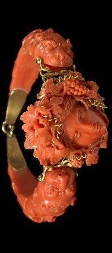 Coral jewelry art Bracelet, made in Italy in the 19th century