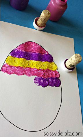 Easter egg wine cork painting