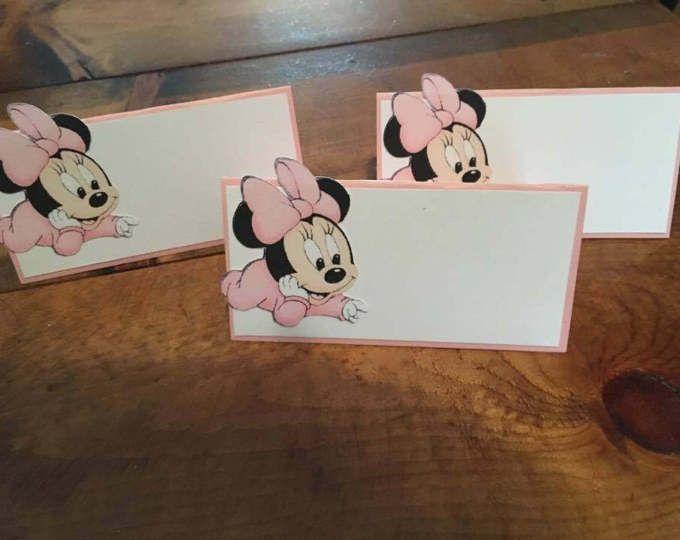 12 baby Minnie Mouse tarjetas del lugar