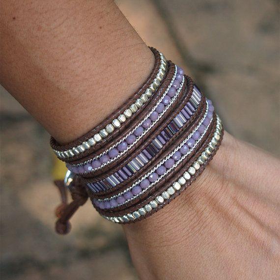 Purple mix beaded Wrap bracelet, Bohemian bracelet, Beadwork bracelet                                                                                                                                                                                 Plus