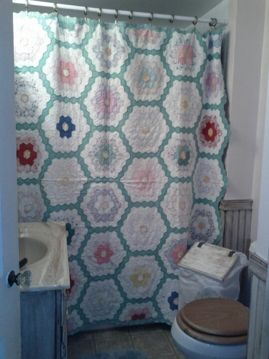 High Quality Old Quilt For A Shower Curtain
