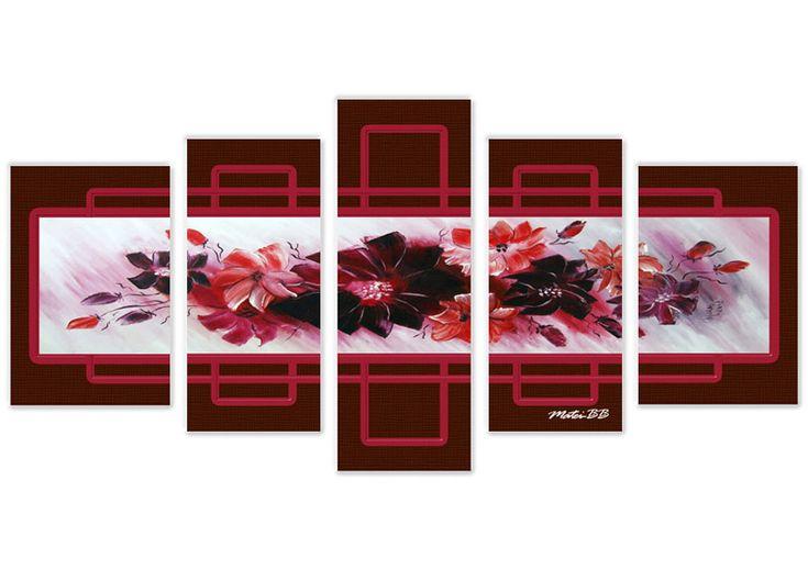 Tablou flori mov 2345 Dimensiune: 2x 30x45 + 2x 25x55 + 1x 25x70 cm Total: 135x70 cm