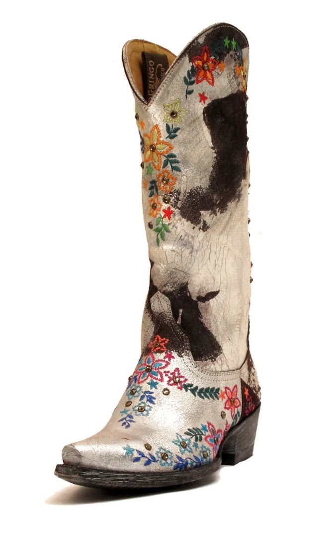 """These Old Gringo Sozey boots from Space Cowboy Boots come in a rainbow of colors. The boots are suede and hand painted with silver to give them a crackle finish. They have tiny Swarovski crystals in the center of the flowers.""  c."