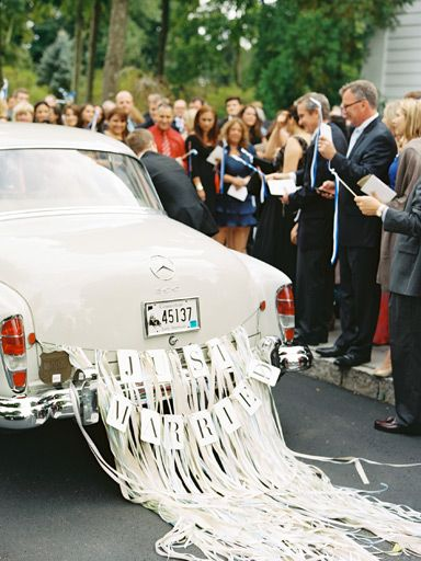 Reinvent the Traditional Ceremony Exit  Once you're officially married, it's time to make your way to the reception. While you could easily just hop into a limo with your bridal party, why not try a more exciting mode of transportation? Your guests will never expect you and your new spouse to hop on a tandem bike! Or hire a driver and a vintage car of your choice, like a Rolls-Royce Phantom, to take you to the reception.