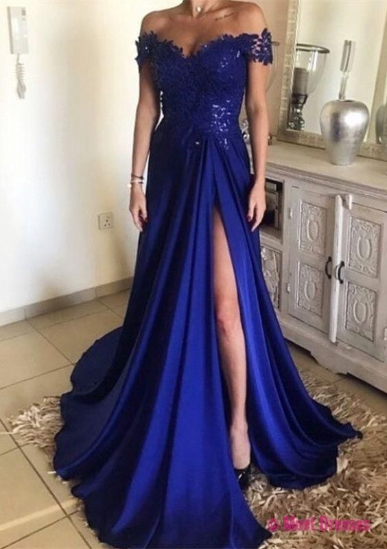 2018 Fashion Off The Shoulder Prom Dress Royal Blue, High Slit Formal Evening Gown With Lace Bodice PD20189708
