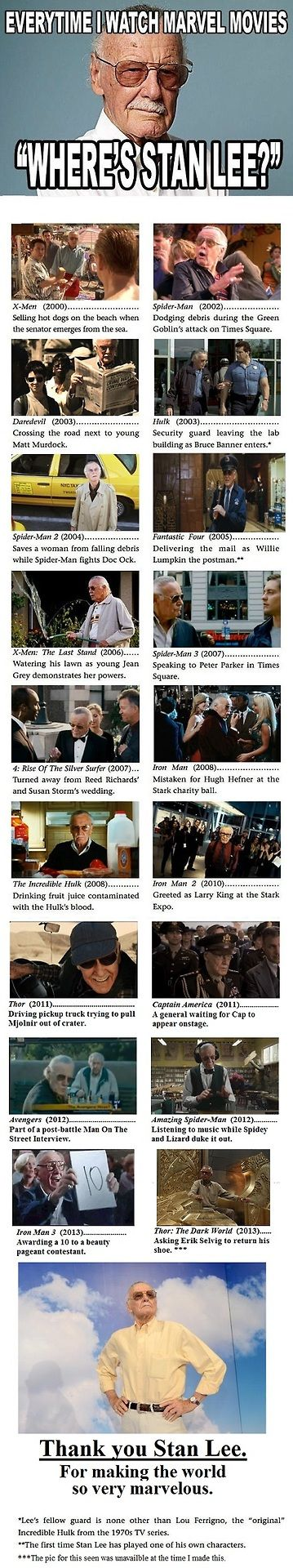 Stan Lee in Marvel films. He has the right idea. If I made it this big doing superhero stuff I would want a cameo in all of the movies, too.