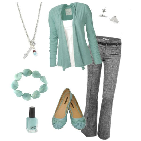 Cute business casual outfit in teal/blue.