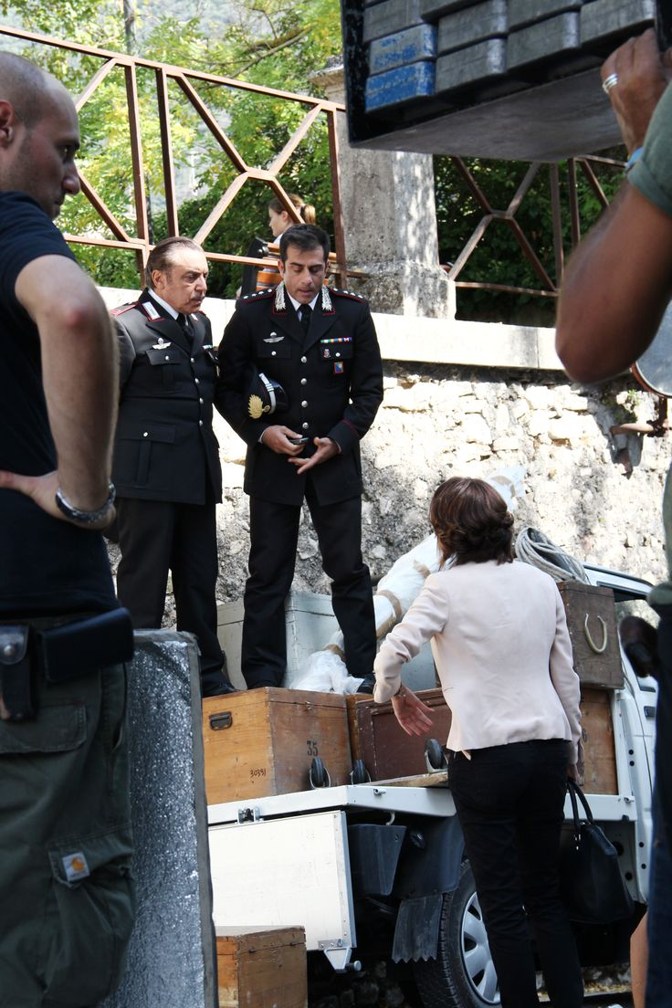 Shooting Don Matteo9 in Spoleto. The captain and the mareciallo (Simone Montedoro and Nino Frassica).
