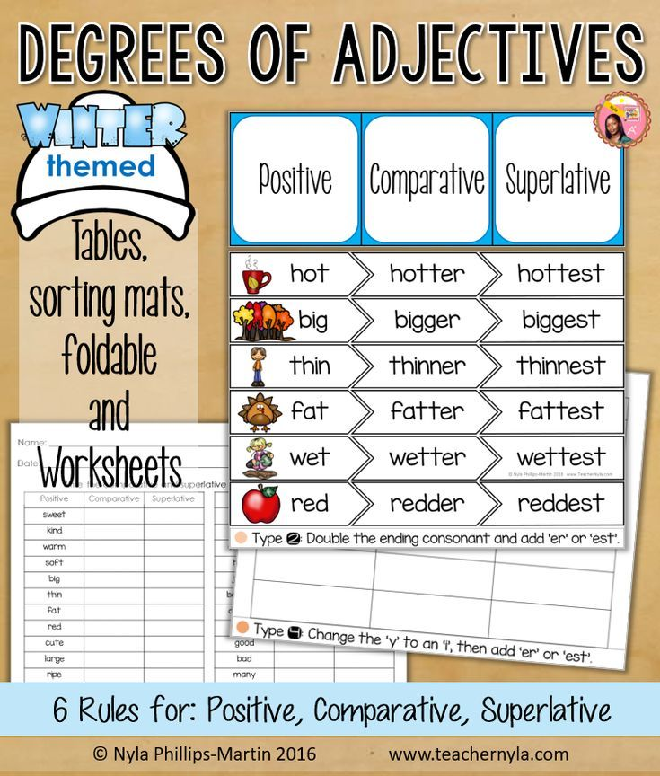 Winter Themed Degrees Of Adjectives Worksheet Tables And Sorting Mats Adjective Worksheet Adjectives Teaching Printables