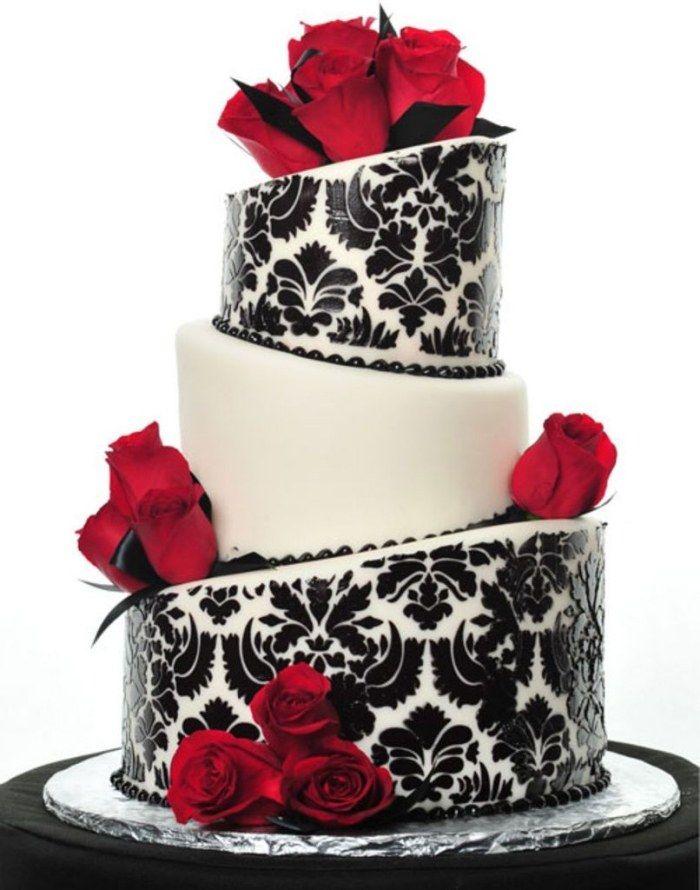 asymmetrische Hochzeitstorte in schwarz und weiß