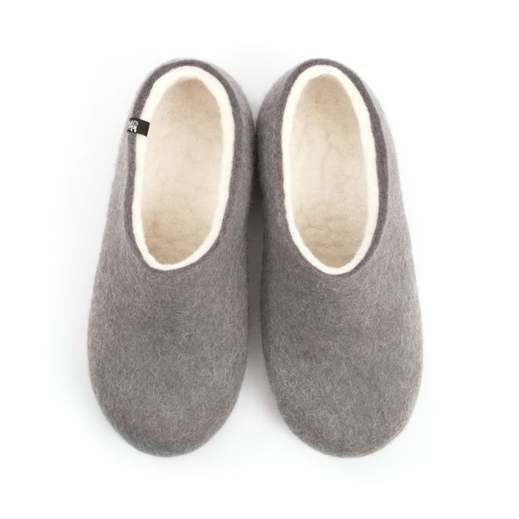 Wooppers BLISS grey felted wool slippers