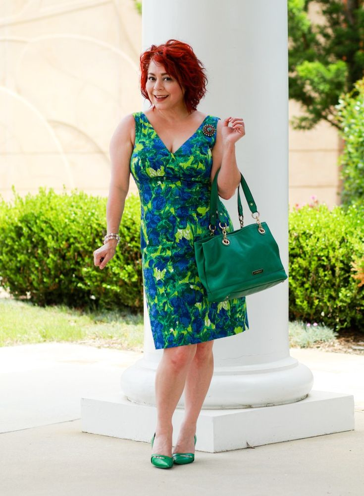 Vintage Wiggle Dress, Floral Dress, Wiggle dress, red hair, fashion over 40, The Fab 40's, Brooch, Nine West green pumps, green handbag, spring style for women, special occasion look, fashion for women, summer style for women,