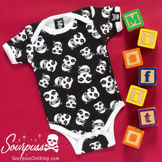 Sourpuss Clothing Misfits One Piece #sourpuss #sourpussclothing #kids #baby #misfits #punkkids #punkbaby