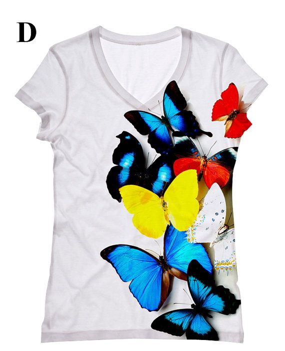 Hey, I found this really awesome Etsy listing at https://www.etsy.com/listing/114652849/woman-butterfly-print-top-t-shirt-and