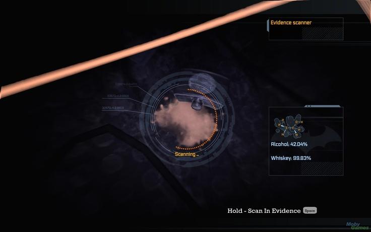 Batman: Arkham Asylum evidence inspector interface