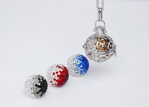 Engeslrufer Crystal Soundball (R899 each) in a 24mm (Large) Silver rhodium Plated Cage Pendant (R1699)