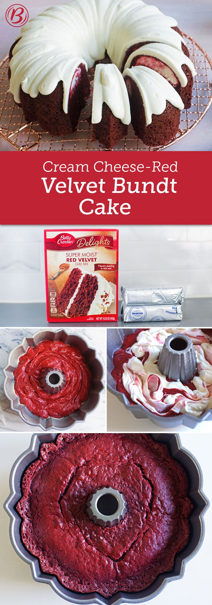 A hidden layer of sweetened cream cheese, give this red velvet Bundt a little something extra. If you can't find our red velvet cake mix, substitute a box of our SuperMoist™ German chocolate cake mix along with a 1-oz bottle red food coloring. Bake the cake as directed above, and mix the food color in with the eggs and sour cream.