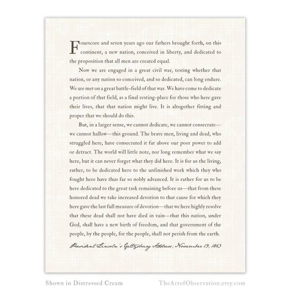 Gettysburg Address Print Abraham Lincoln Inspirational Speech