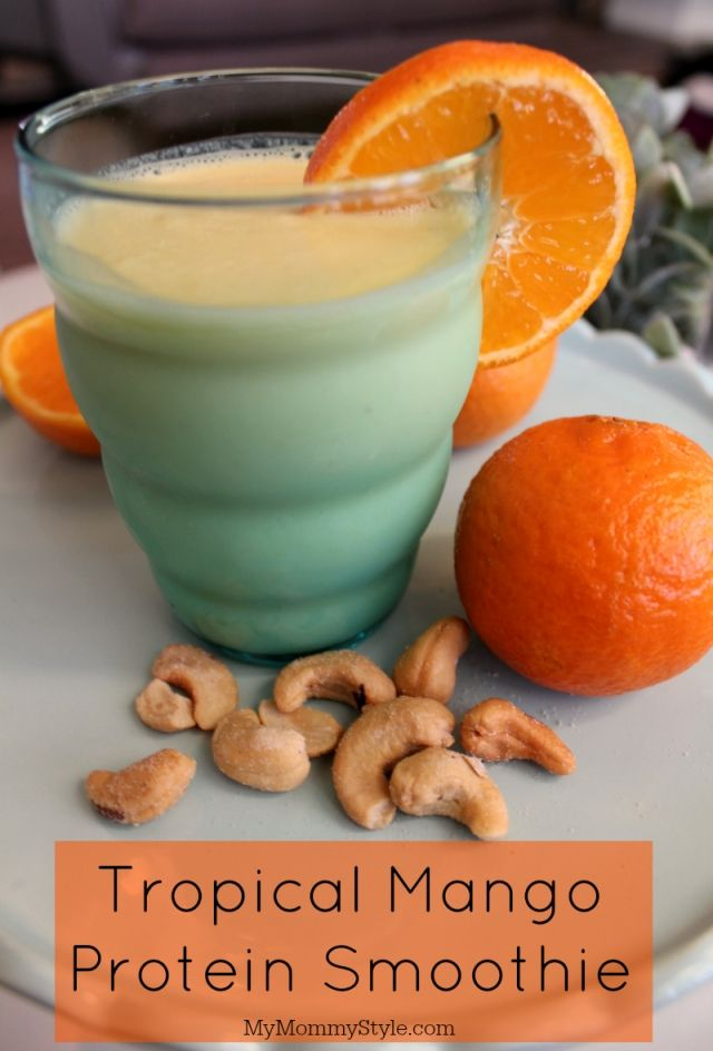 Tropical Mango protein smoothie! This healthy smoothie is packed with vitamins and even electrolytes! If you are looking for a healthy way to start the day this is for you! #SimpleTruthH20 #ad #smoothie #healthy