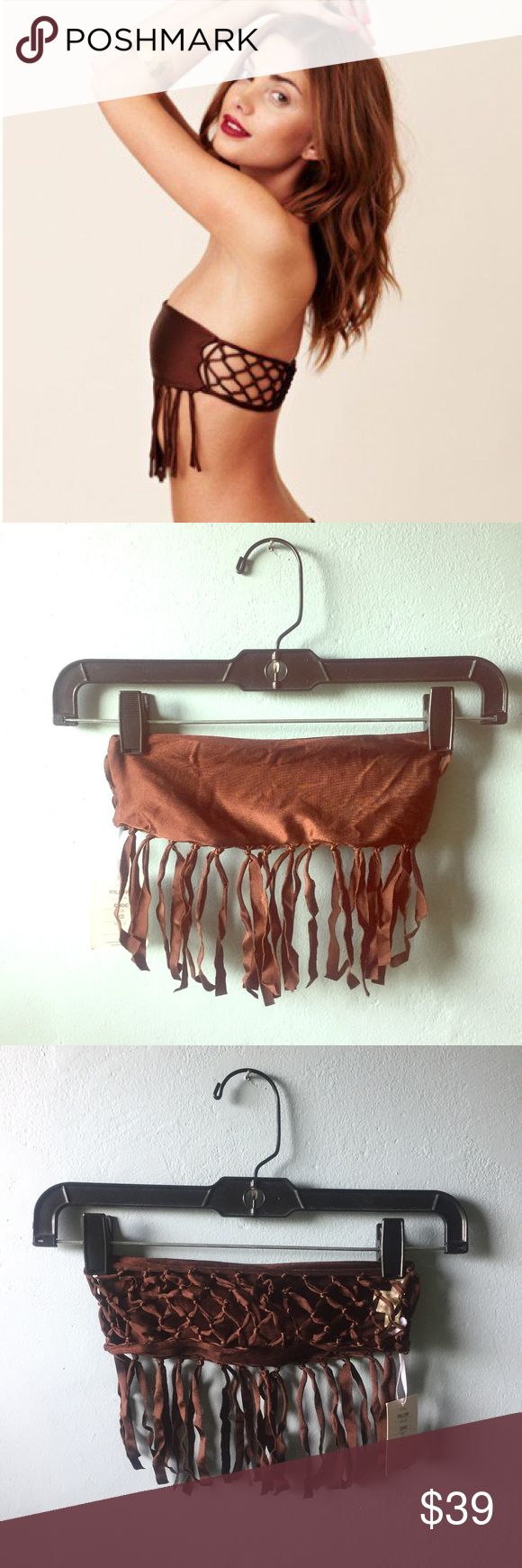"""Indah """"willow"""" top Indah's take on a fringe bandeau bikini top. Hand tied net detailing in the back. Fringe detailing that can be worn at the top or at the bottom of top. Top is chocolate brown and NWT!! Indah Swim"""