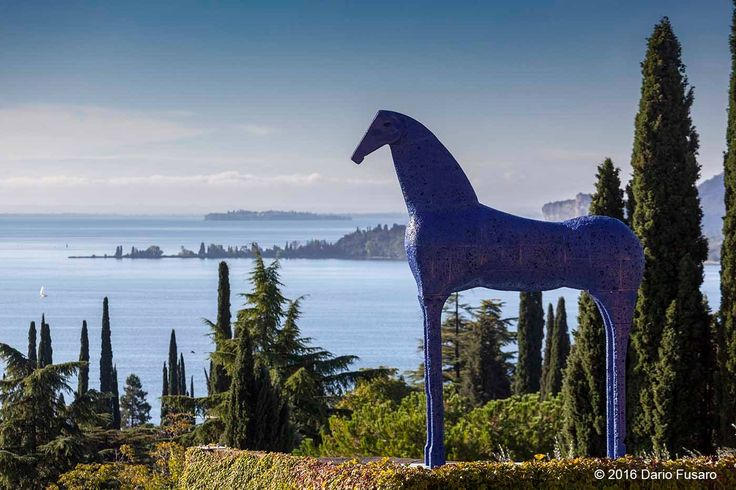 The blue horse, by Mimmo Palladino sculptor, the Vittoriale garden, Gardone Riviera, Italy