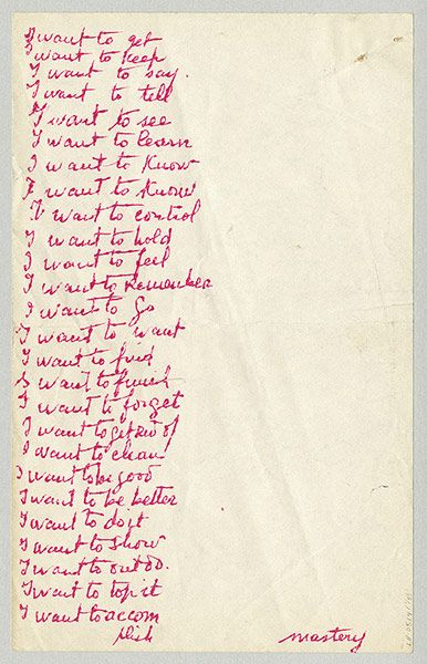 "Louise Bourgeois ""I want to..."""