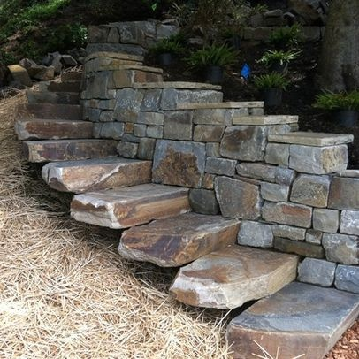 Delightful Natural Stone Stairs Design Ideas, Pictures, Remodel, And Decor