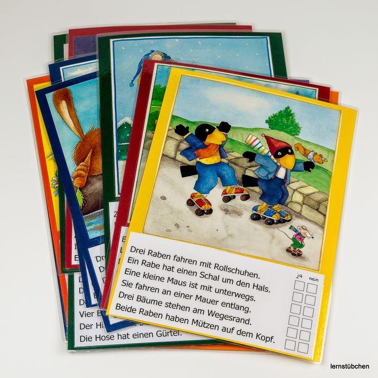 Deutsch, lesen, Leseverständnis, Textverständnis, Lesekompetenz, Bild Karten mit Raben Bilder und ankreuzen ja nein, Lernstübchen, Klasse 1, Vorschule fordern, Forderaufgabe, mittel bis schwer