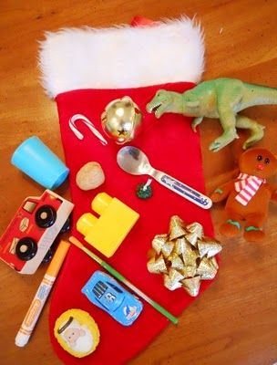 What's in the Stocking? 20 questions game (adapted for K) Write 1-20 on board.  S. ask teacher yes/no questions to figure out object in stocking.  Erase a number after each ?