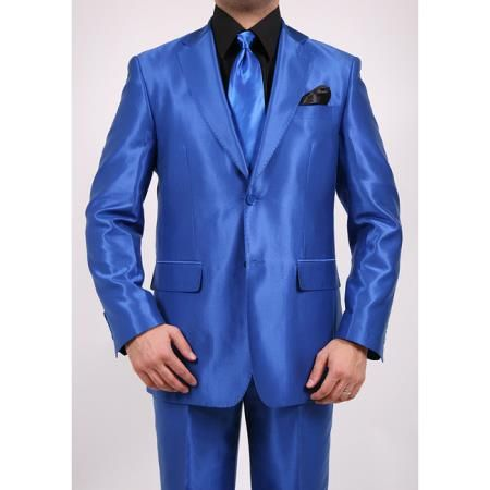 SKU#R43FD Shiny Sharkskin Flashy Metallic Mens Royal Blue Two-Button 2-Piece Slim Fit Suit $599