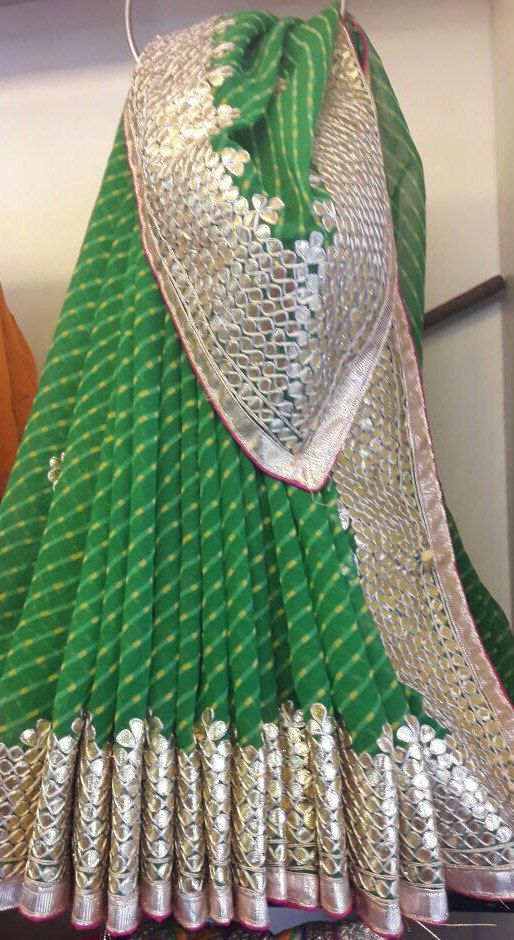Traditional Georgette Leheriya Saree with by Threadsandblocks
