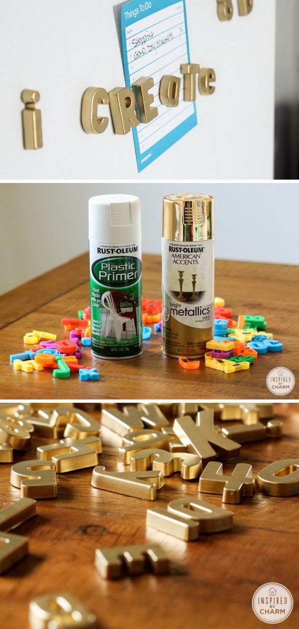 Estas letras magnéticas pintadas de ouro fariam um design maravilhoso para o seu refrigerador.