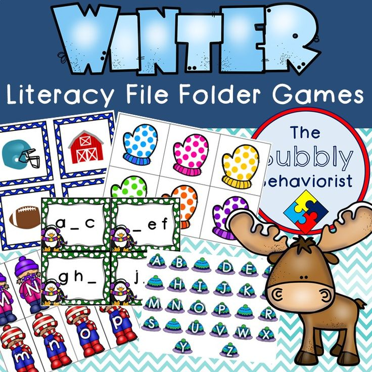 In my previous post, I showcased my Winter Math File Folder Games. Here are 8 Winter themed literacy file folders including: uppercase and lowercase letter match, missing letter, missing letter (gr…
