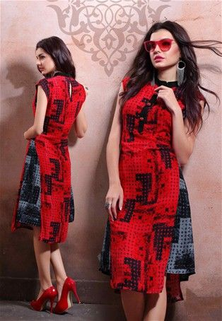 Ready made Red color Cotton #Rayon Printed #Kurti  #WomenClothing #OnlineKurti #WomenKurti #ladiesWear #Fashion #Style #collection #EthnicWear