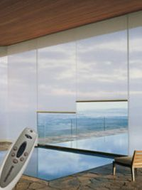 Motorized Lifting System Window Treatments - Hunter Douglas Window Treatments - can operate from smart phone. Great for vacation home.