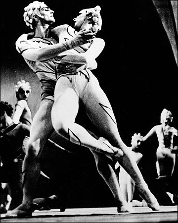 "George Zoritch and Nini Theilade in the Ballet Russe de Monte Carlo production of Massine's ""Rouge et Noir,"" circa 1939."