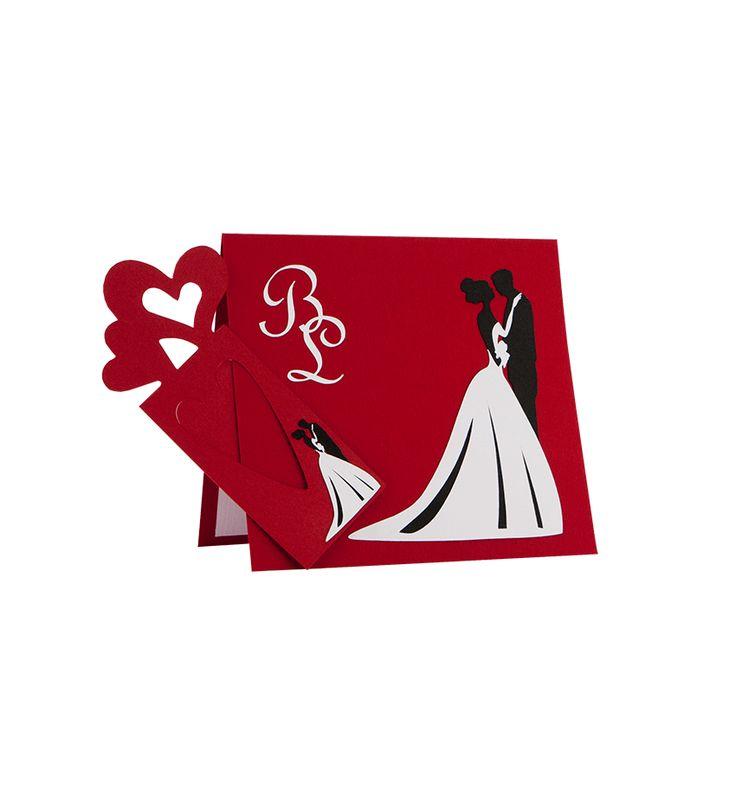 Invitatie nunta din carton rosu, cu model mire si mireasa realizat din carton alb si negru aplicat manual in multiple straturi #nunta #invitatii nunta #wedding