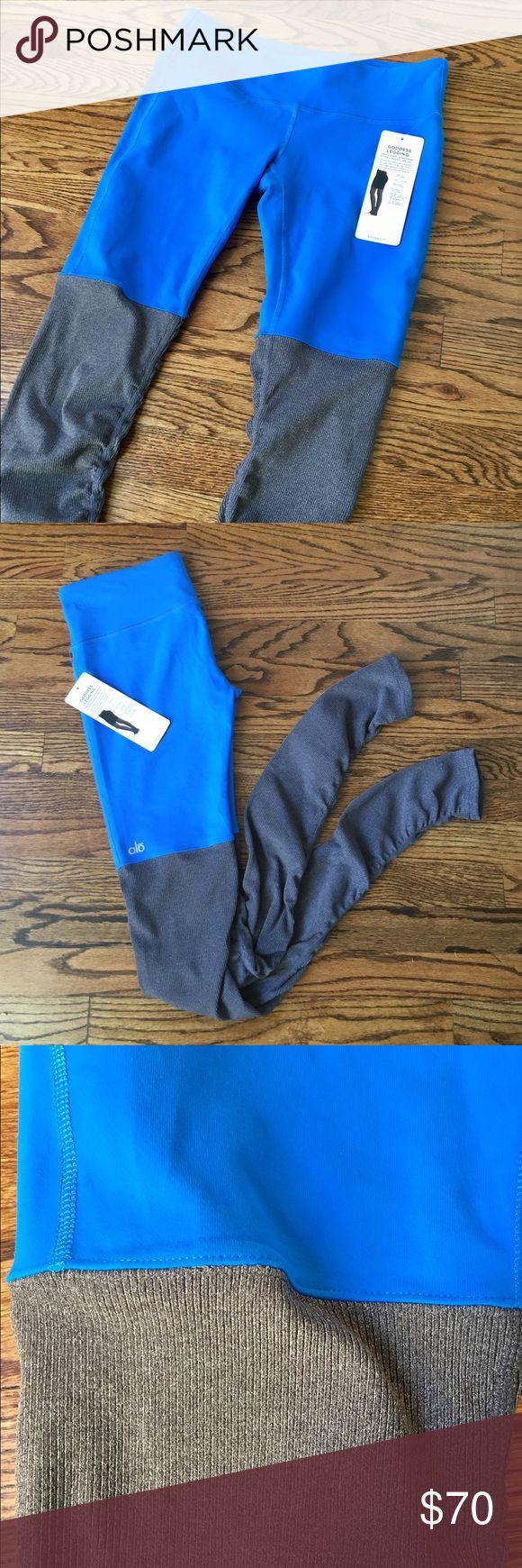 NWT ALO Goddess Leggings- Medium NWT ALO YOGA Goddess Leggings size Medium. Electric blue top with grey leggings. ALO Yoga Pants Leggings