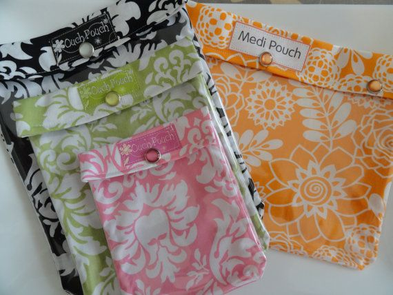 Ouch Pouch The Collection - 4 Sizes 'Clear Pocket' Travel Carry On Airport Friendly First Aid New Mom's Diaper Bag Gear - You Choose Fabrics