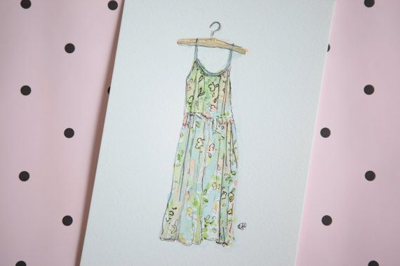 Fashion Illustration Floral Sundress Watercolour by okdraw